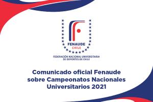 Fenaude anuncia cancelación de Campeonatos Nacionales Universitarios 2021